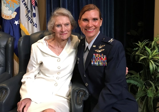 Col. Willis poses for a photo with her mother