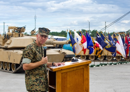 U.S. Marine Corps Lt. Col. Matthew Dowden, commanding officer of 2d Tank Battalion, 2d Marine Division (2d MARDIV), gives remarks during the deactivation ceremony of Charlie Company, 2d Tank Battalion on Camp Lejeune, North Carolina, July 24, 2020. 2d Tank Battalion served 2d MARDIV for nearly 80 years and were deactivated in response to a future redesign of the Marine Corps. (U.S. Marine Corps photo by Lance Cpl. Jacqueline Parsons)