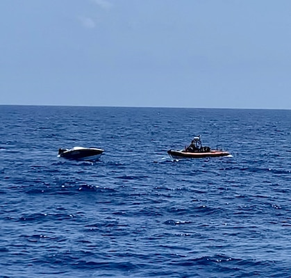 USS Shamal with embarked U.S. Coast Guard Law Enforcement Detachment  team conducts enhanced counter narcotics operations July 4.