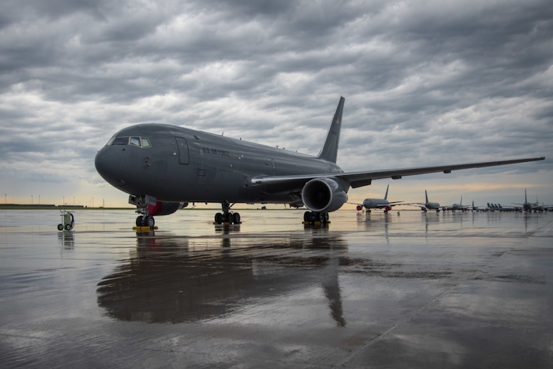 After heavy rains, a KC-46A Pegasus sits on the flightline July 9, 2020, at McConnell Air Force Base, Kansas. The 22nd Air Refueling Wing is home to KC-46 and KC-135 Stratotanker aircraft, two of three tankers used to support aerial refueling operations in the Air Force. (U.S. Air Force photo by Airman 1st Class Marc A. Garcia)