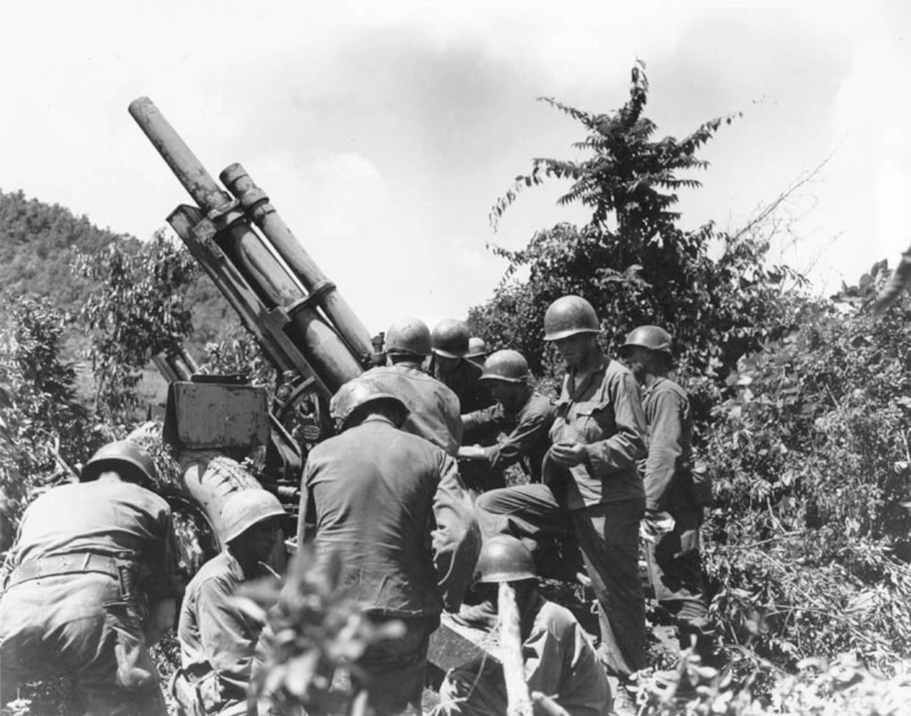 Service members in combat gear surround a gun shrouded in tall shrubs.