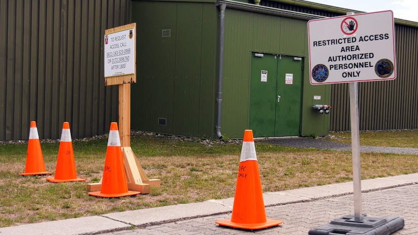 Restricted access signs are posted in and around the Deployment Processing Center, or DPC, on Rhine Ordnance Barracks in Kaiserslautern, Germany to ensure the safety of the force and the local community. The DPC currently houses incoming personnel from the United States undergoing quarantine and in-processing to the European theater. Task Force Wilkommen is a group of organizations facilitating this process during the COVID-19 pandemic. (U.S. Army Reserve photo by Staff Sgt. Chris Jackson/Released)
