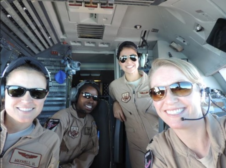 U.S. Air Force Col. Mona Alexander, 87th Air Base Wing vice commander, poses for a picture during an all-female KC-10 combat sortie in 2013. Alexander moved over from the Air Force Expeditionary Operations School to serve in her new role as vice commander. (Courtesy photo)