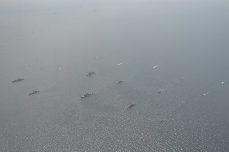 200724-N-OZ224-1147 BLACK SEA (July 24, 2020) Ships and aircraft from eight nations sail in formation during a photo exercise while participating in exercise Sea Breeze 2020 in the Black Sea, July 24, 2020. Sea Breeze is an annual U.S.-Ukrainian co-hosted exercise designed to enhance interoperability between participating nations and strengthen regional security.  (U.S. Navy photo by Mass Communication Specialist 2nd Class Brandon Vinson/Released)