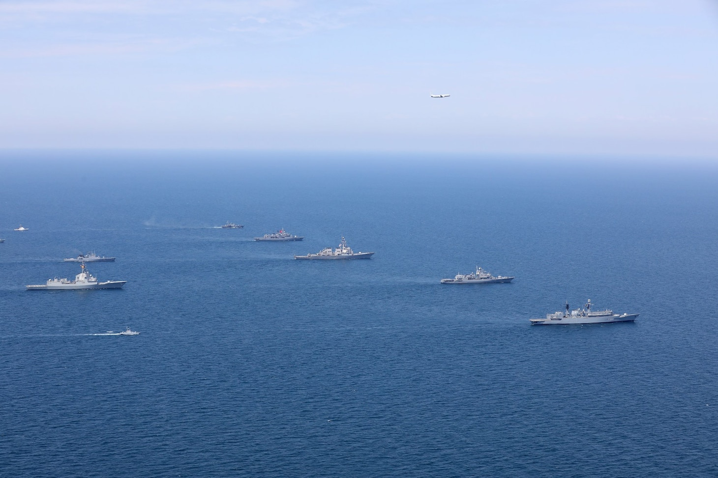 200724-O-NO901-0001 BLACK SEA (July 24, 2020) Ships and aircraft from eight nations sail in formation during a photo exercise while participating in exercise Sea Breeze 2020 in the Black Sea, July 24, 2020. Sea Breeze is an annual U.S.-Ukrainian co-hosted exercise designed to enhance interoperability between participating nations and strengthen regional security. (Photo courtesy of Ukraine Navy)