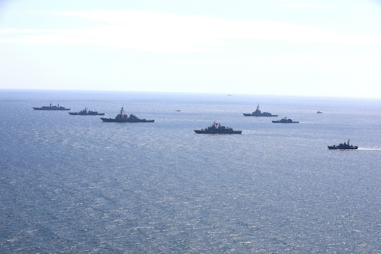 200724-O-NO901-0002  BLACK SEA (July 24, 2020) Ships and aircraft from eight nations sail in formation during a photo exercise while participating in exercise Sea Breeze 2020 in the Black Sea, July 24, 2020. Sea Breeze is an annual U.S.-Ukrainian co-hosted exercise designed to enhance interoperability between participating nations and strengthen regional security. (Photo courtesy of Ukraine Navy)