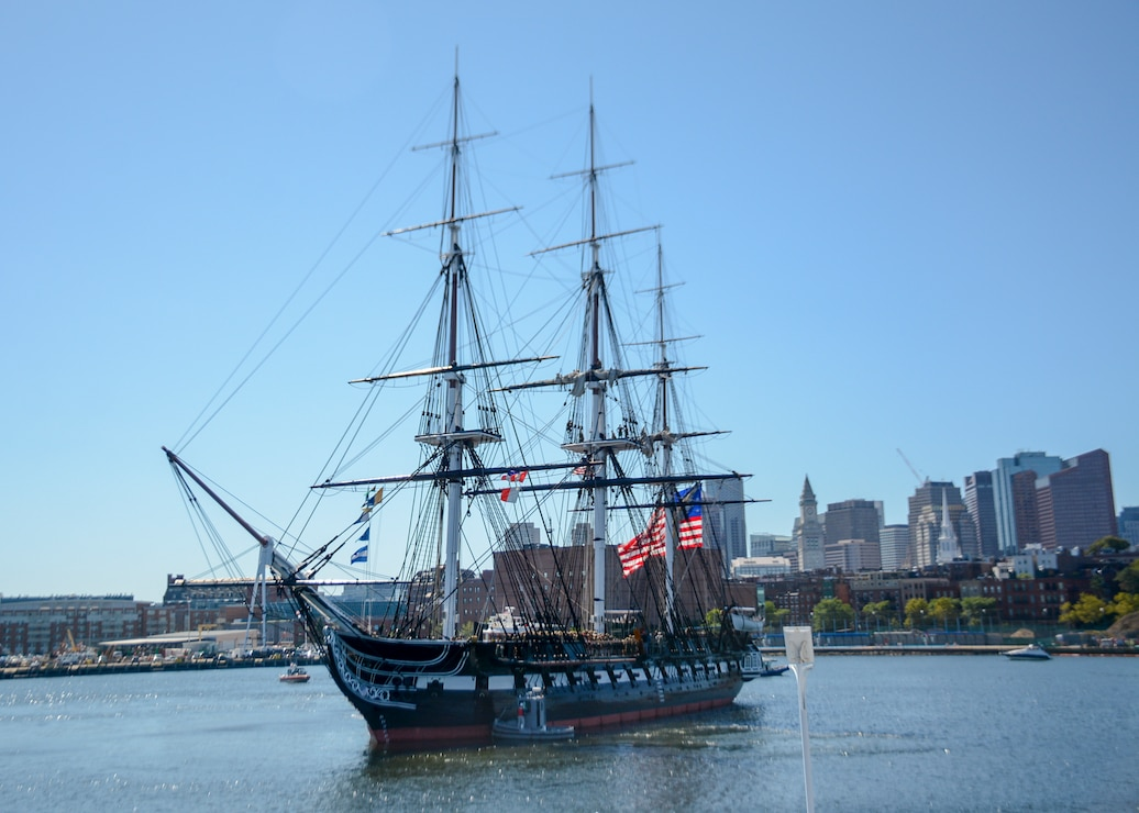 USS Constitution sailing near castle island