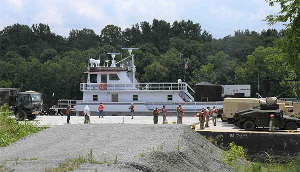 Engineers use Lock C for the first time after USACE renovation.