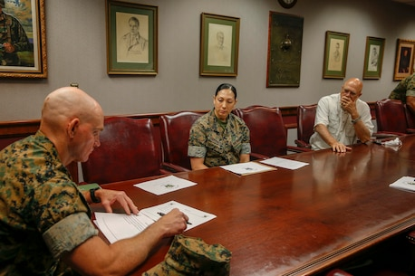 The 19th Sergeant Major of the Marine Corps, Troy E. Black, meets with leadership with the Lejeune Leadership Institute (LLI) at Marine Corps Base Quantico, Va, June 15, 2020. The Sergeant Major of the Marine Corps conducted the visit to receive updates on LLI's mission to develop leadership training, education and policies in order to facilitate the development of ethical leaders firmly rooted in Marine Corps heritage of selfless service, core values, and warfighting excellence. (U.S. Marine Corps photo by Sgt. Victoria Ross)