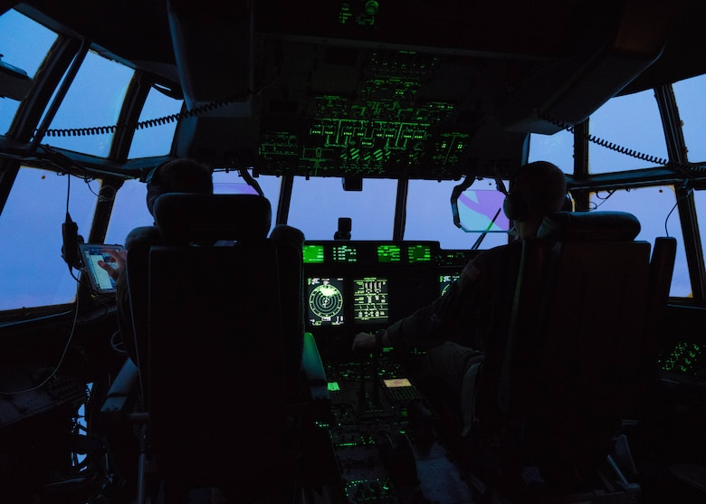 An Air Force Reserve Hurricane Hunter aircrew flies into Hurricane Douglas July 24, 2020, to collect weather data to assist the Central Pacific Hurricane Center with their forecasts. The 53rd Weather Reconnaissance Squadron, assigned to the 403rd Wing at Keesler Air Force Base, Mississippi, departed July 22 to conduct operations out of Barbers Point Kapolie Airport, Hawaii. (U.S. Air Force photo by Lt. Col. Marnee A.C. Losurdo)