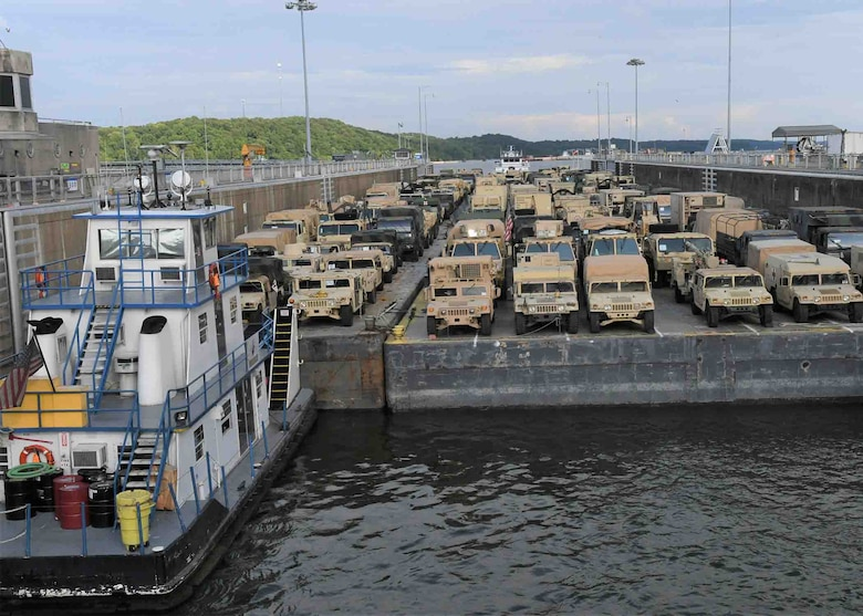 Military Vehicles transit Kentucky Dam