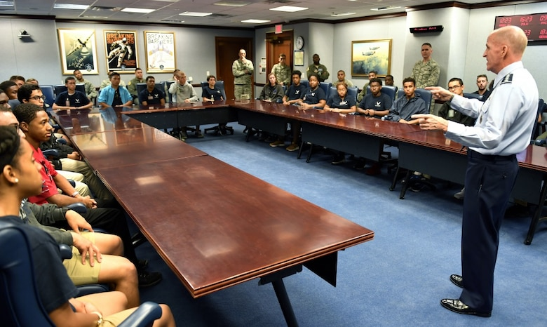 Air Force Vice Chief of Staff Gen. Stephen W. Wilson speaks with trainees from the Aviation Character Education Flight Program, the Pentagon, Arlington, Va., Aug. 1, 2018. The ACE program is a unique mentorship and motivational program for high school students and Air Force cadets. (U.S. Air Force photo by Wayne A. Clark)