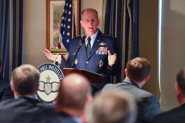 Air Force Vice Chief of Staff Gen. Stephen W. Wilson speaks about the National Security Strategy and Nuclear Deterrence during a seminar hosted by the Mitchell Institute for Aerospace Studies in Washington, D.C., July 24, 2019. (U.S. Air Force photo by Adrian Cadiz)