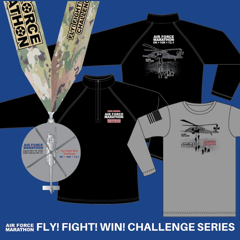 The Fly! Flight! Win! Challenge series is unique to the Air Force Marathon and consists of a combination of three races.  All series runners will participate in a 5K, 10K and the choice of the half marathon or marathon. Once complete, challenge series runners will receive their 2020 race bib, medals for all three races, a special Fly! Flight! Win! Medal with spinning rotors, a long sleeve official race shirt, and a special Fly! Fight !Win! quarter zip pullover. (Courtesy graphic)