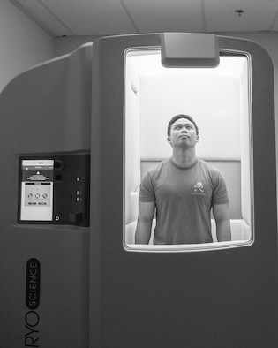 A 5th Air Support Operations Squadron Tactical Air Control Party Airman uses a cryotherapy chamber after a workout at Joint Base Lewis-McChord, Wash., March 3, 2020.