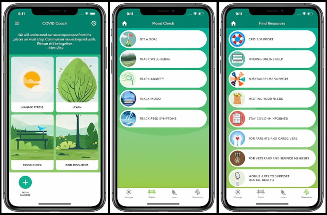 COVID Coach is a free, easy-to-use mobile application created for everyone, especially Veterans and service members, to support self-care and overall mental health during the coronavirus, or COVID-19, pandemic.