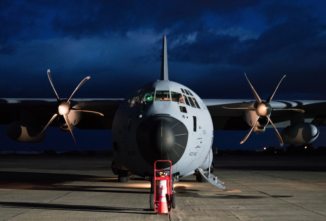 An Air Force Reserve Hurricane Hunter aircrew runs its flight checklists preparing to fly into Hurricane Douglas, the first hurricane in the Pacific this season, July 26, 2020, to collect weather data to assist the Central Pacific Hurricane Center with their forecasts. The 53rd Weather Reconnaissance Squadron, assigned to the 403rd Wing at Keesler Air Force Base, Mississippi, departed July 22 to conduct operations out of Barbers Point Kapolie Airport, Hawaii. (U.S. Air Force photo by Lt. Col. Marnee A.C. Losurdo)