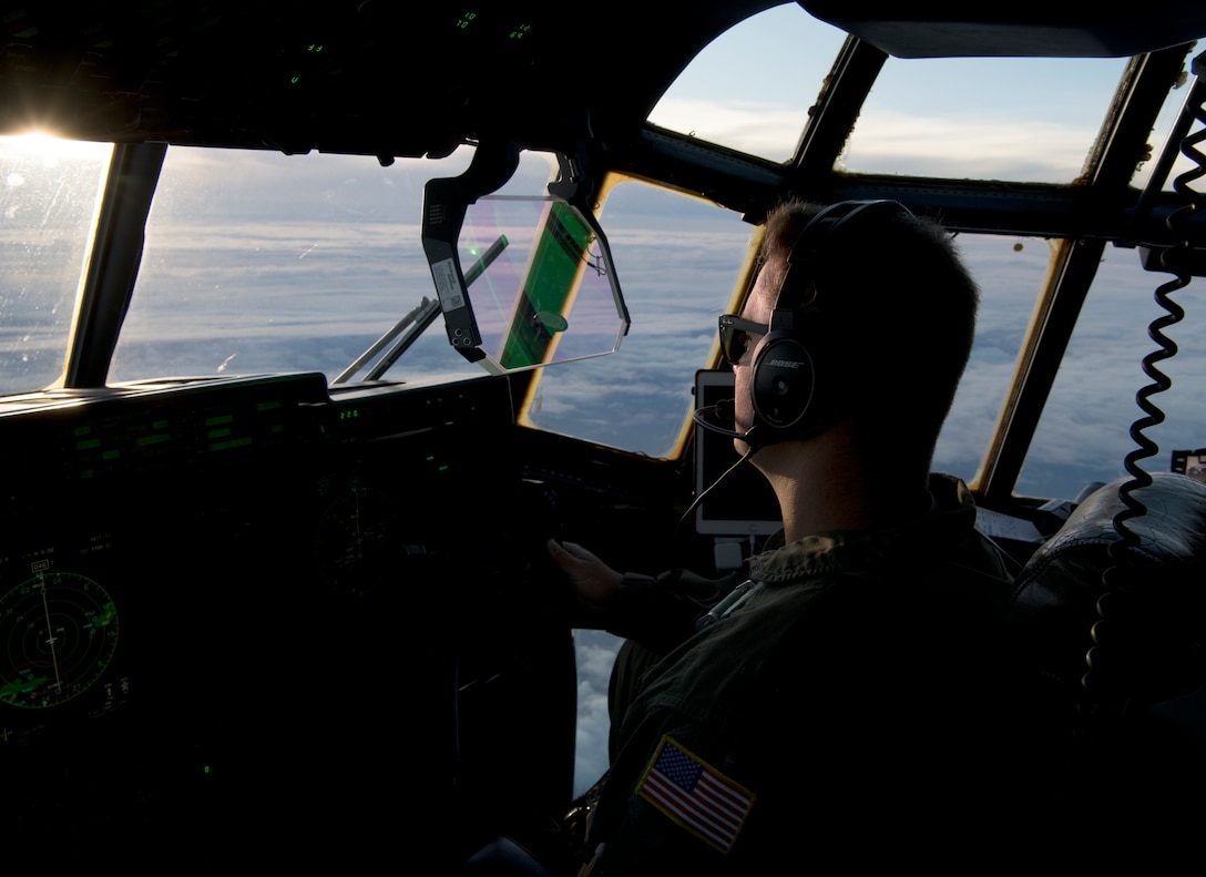 Capt. Patrick Tift, pilot for the 53rd Weather Reconnaissance Squadron at Keesler Air Force Base, Miss., flies the WC-130J Super Hercules aircraft into Hurricane Douglas from Barbers Point Kapolei Airport, Hawaii, July 26, 2020. The 53rd WRS is part of the Air Force Reserve 403rd Wing and is the only unit of its kind in the entire Department of Defense. (U.S. Air Force Photo by Senior Airman Kristen Pittman)