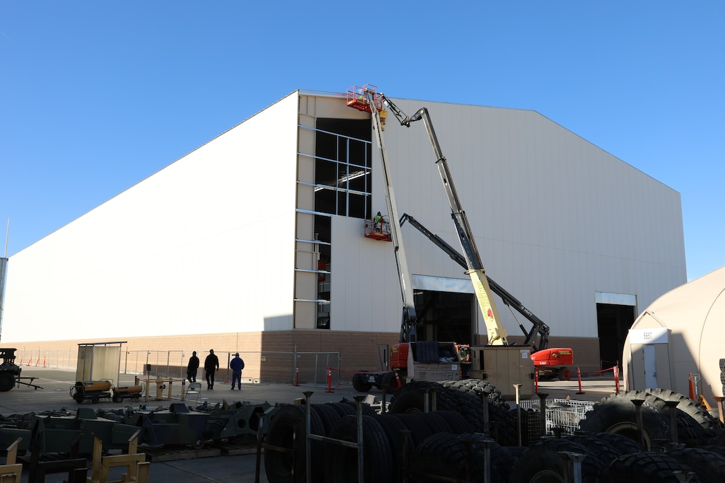 Contractors put final touches on Production Plant Barstow's new structure on the Yermo Annex aboard Marine Corps Logistics Base Barstow, Calif., July 24.