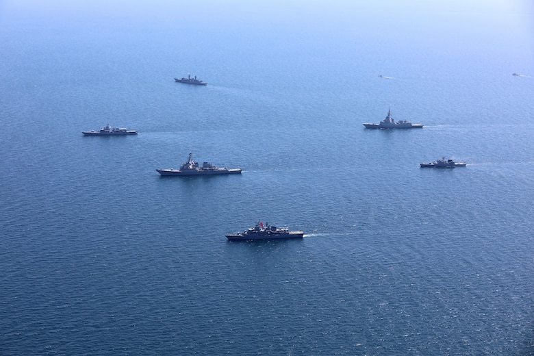 200724-O-NO901-0003 BLACK SEA (July 24, 2020) Ships and aircraft from eight nations sail in formation during a photo exercise while participating in exercise Sea Breeze 2020 in the Black Sea, July 24, 2020. Sea Breeze is an annual U.S.-Ukrainian co-hosted exercise designed to enhance interoperability between participating nations and strengthen regional security. (Photo courtesy of Ukraine Navy)