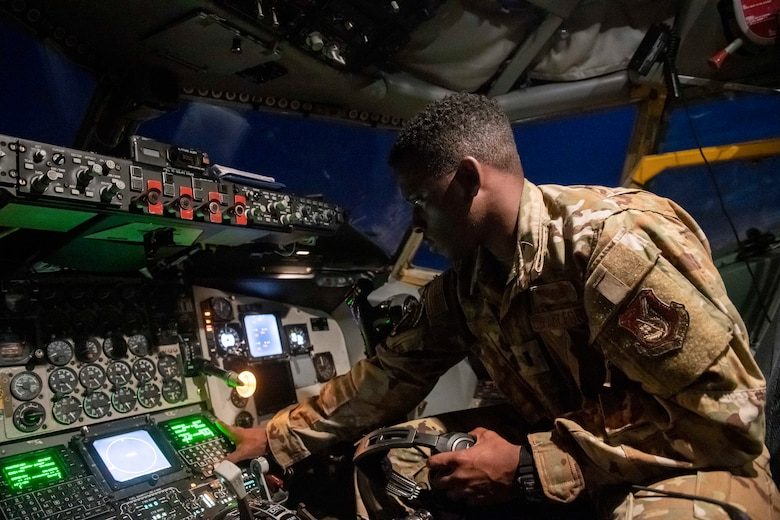 1st Lt. John Lewis Elliot, 909th Aerial Refueling Squadron KC-135 Stratotanker pilot, conducts a pre-flight checklist prior to a Bomber Task Force (BTF) mission, July 27, 2020 at Kadena Air Base, Japan. The 909th ARS maintains around-the-clock readiness in order to support the BTF as well as any other U.S. Indo-Pacific Command flying units, enabling joint and allied partners to maintain continuous peace and security operations throughout the region. (U.S. Air Force photo by Staff Sgt. Peter Ref