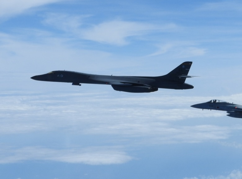 A B-1B Lancer conducts integration training with the Koku-Jieitai, or Japanese Air Self-Defense Force (JASDF) in the vicinity of Japan, July 27, 2020. The B-1s integrated with Koku-Jietai F-2s to enhance bilateral interoperability and mutual readiness between the U.S. and Japan. (Photo Courtesy of JASDF)