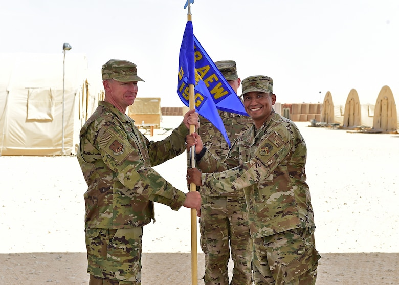 Col. Askew assumed command of the 378th EMSG from Col. Alvarez during the ceremony.