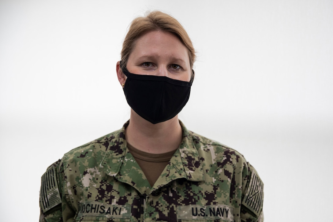 U.S. Navy Lt. Cmdr. Stefani Mochisaki stands for a photo inside the COVID response cell office at Camp Foster, Okinawa, Japan, July 24.
