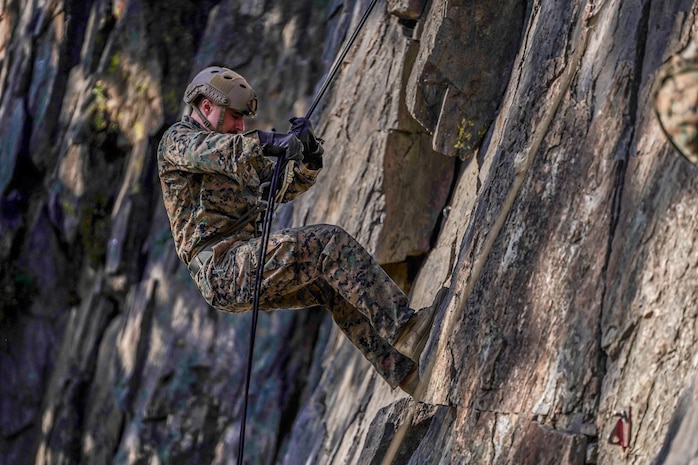 A Marine with Echo Company, 4th Reconnaissance Battalion, 4th Marine Division rappels down a rock face during a guided training course aboard Marine Corps Mountain Warfare Training Center, Bridgeport, Calif., July 24, 2020. MCMWTC offers a unique training experience for the Marines with 4th Recon to prepare and develop an understanding of traversing a mountainous environment as they maintain their readiness to fight in any clime and place. (U.S. Marine Corps photo by Sgt. Conner Downey)