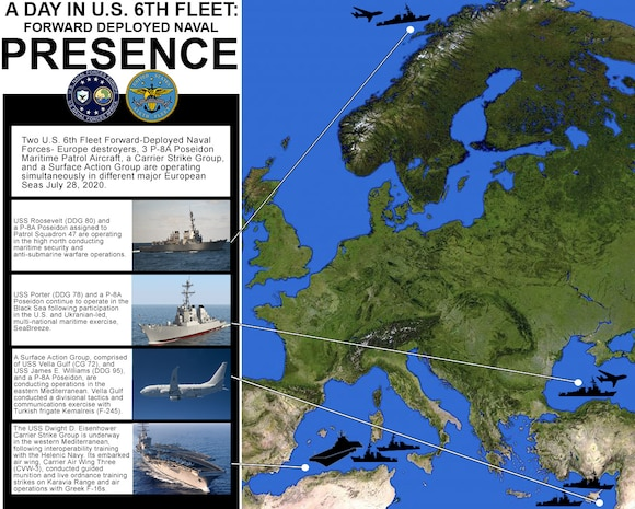 Two U.S. 6th Fleet Forward-Deployed Naval Forces-Europe destroyers, 3 P-8A Poseidon Maritime Patrol Aircraft, a Carrier Strike Group, and a Surface Action Group are operating simultaneously in different major European Seas July 28, 2020.