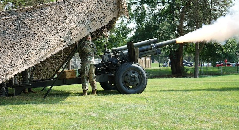 Lt. Col. William G. Start, outgoing commander of the 1st Battalion, 109th Field Artillery Regiment, pulls the cord on the M101A1 howitzer during the battalion's change of command ceremony on July 19, 2020, in Wilkes-Barre, Pa. As a final gesture in recognition of Start's service to the field artillery and 1/109th FA, he had the distinct honor and privilege of firing a final round from the 1/109th FA's ceremonial cannon. (U.S. Army photo by Sgt. 1st Class Matthew Keeler).