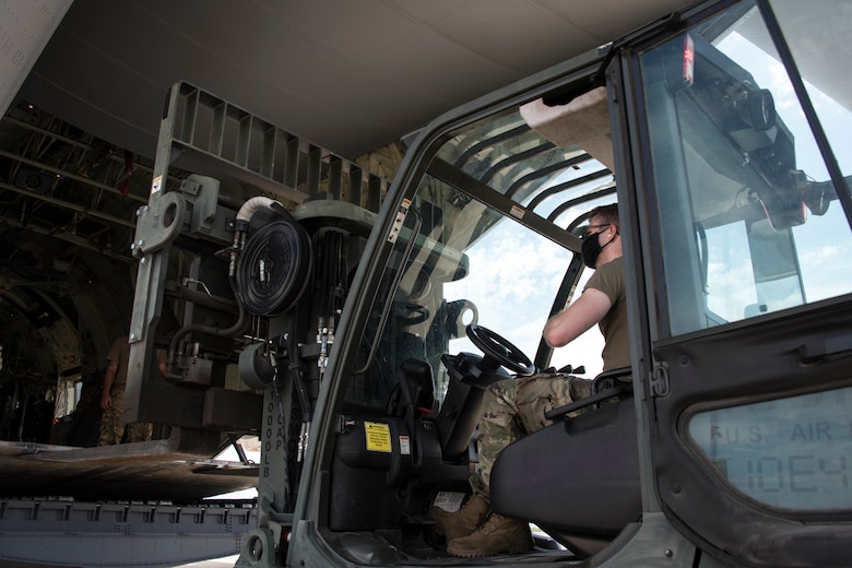 A photo of Airmen loading cargo during a training exercise