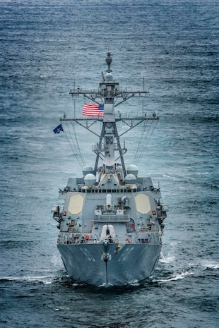 ARTIC CIRCLE (July 27, 2020) Arleigh Burke-class guided-missile destroyer USS Roosevelt (DDG 80) in the Artic Circle. Roosevelt, forward-deployed to Rota, Spain, is on its first patrol in the U.S. 6th Fleet area of operations in support of regional allies and partners and U.S. national security interests in Europe and Africa. (Photo by LPhot Dan Rosenbaum)