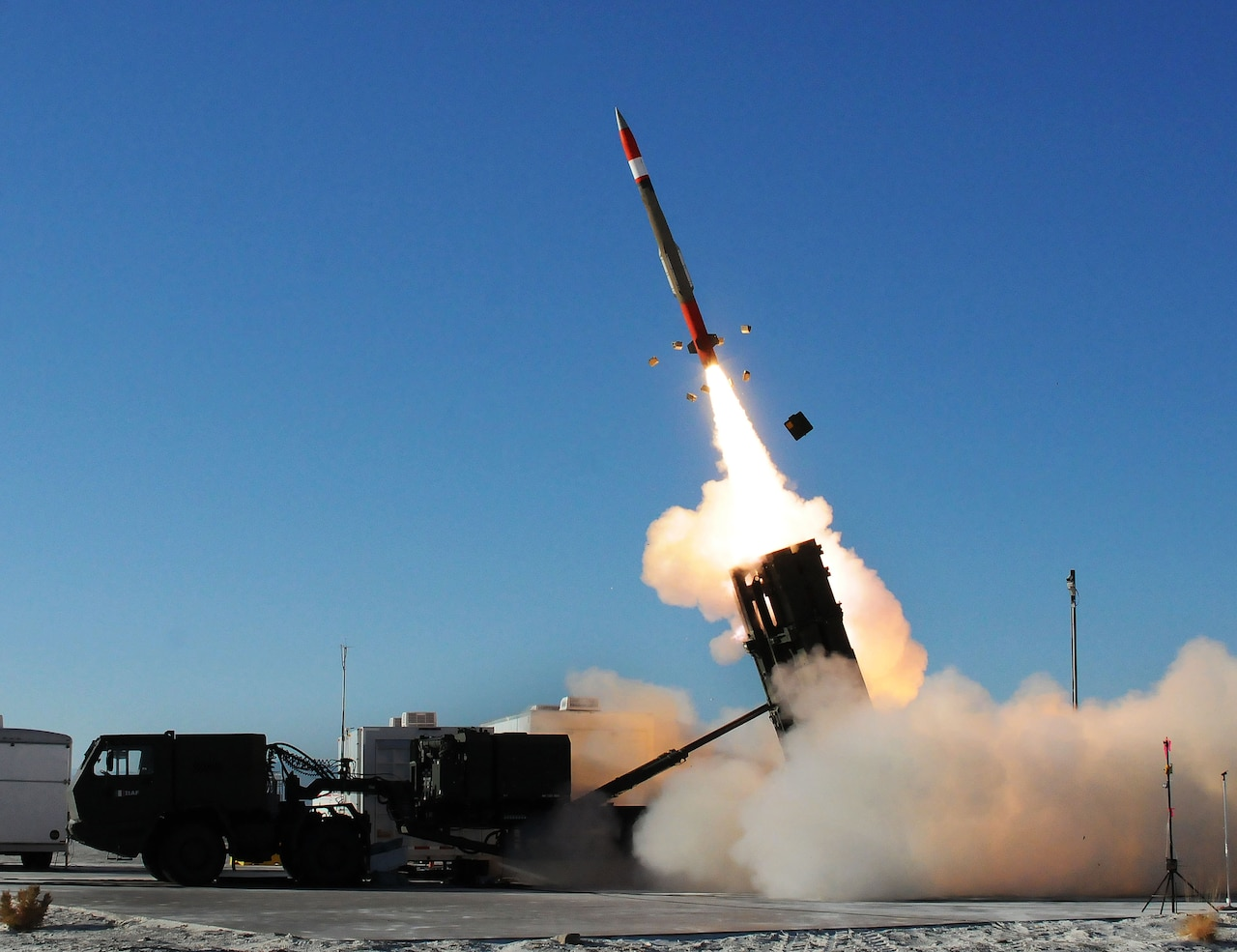 A Patriot missile launches.