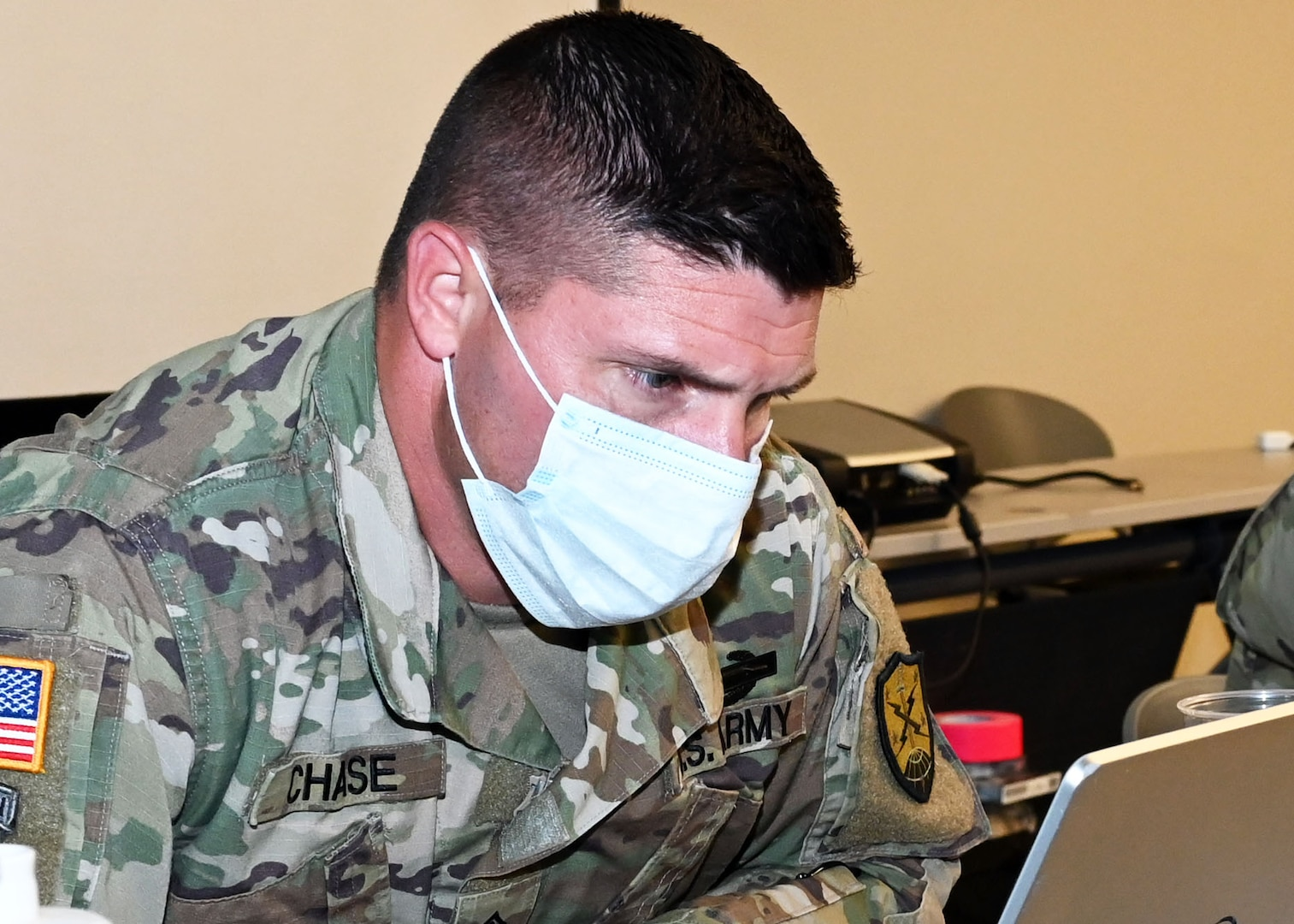 Staff Sgt. Travis Chase, 136th Cyber Security Company, New Hampshire Army National Guard, combats a notional cyberattack made by a foreign government during Cyber Yankee regional training exercise, July 27, 2020, at the Edward Cross Training Center in Pembroke, N.H.