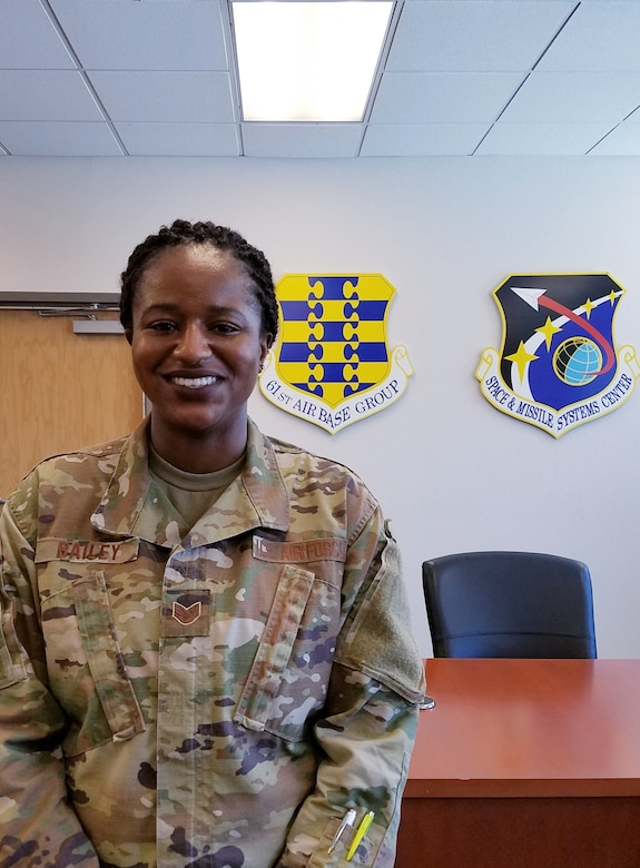 U.S. Air Force Staff Sgt. Angelynn Bailey, 61st Communications Squadron Knowledge Manager currently serves as the SMC Commanders Action Group NCOIC under the Enlisted Developmental Duty Positions (EDDP) program at Los Angeles Air Force Base, Calif., July 10, 2020.  The EDDP program is a 61st Air Base Group initiative that grants the opportunity for enlisted Airmen to gain experience outside of their normal career field and duties, while supporting the overall Space and Missile Systems Center (SMC) mission.  (U.S. Air Force photo by Staff Sgt. Randy Duffy)