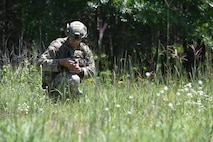 An Air National Guard Explosive Ordnance Disposal technician participates in a field training exercise at Camp Ripley Training Center, Minnesota, July 20-24, 2020.