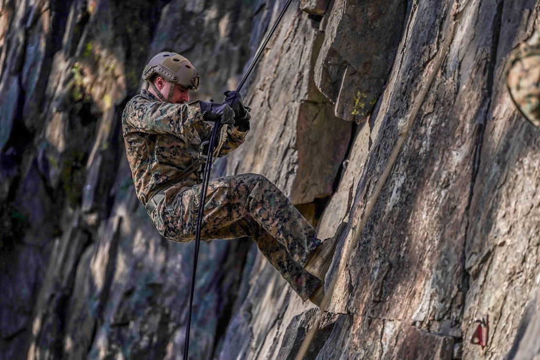 A U.S. Marine rappels down a rock face during a guided training course aboard Marine Corps Mountain Warfare Training Center, Bridgeport, Calif., July 24.
