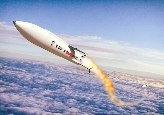 This illustration shows the Air Force's X-60A research vehicle. It's an air-dropped liquid rocket, specifically designed for hypersonic flight research to mature technologies including scramjet propulsion, high temperature materials and autonomous control. (Courtesy illustration)