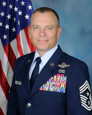 Official biography photo for Chief Master Sgt. Erik Thompson, command chief of Air Education and Training Command.