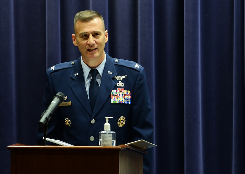 Col. Patrick Williams, 557th Weather Wing commander, officiated the socially-distanced 1st Weather Group change of command ceremony on July 24, 2020 in the Chief Master Sgt. Peter Moore auditorium at Offutt Air Force Base, Nebraska.