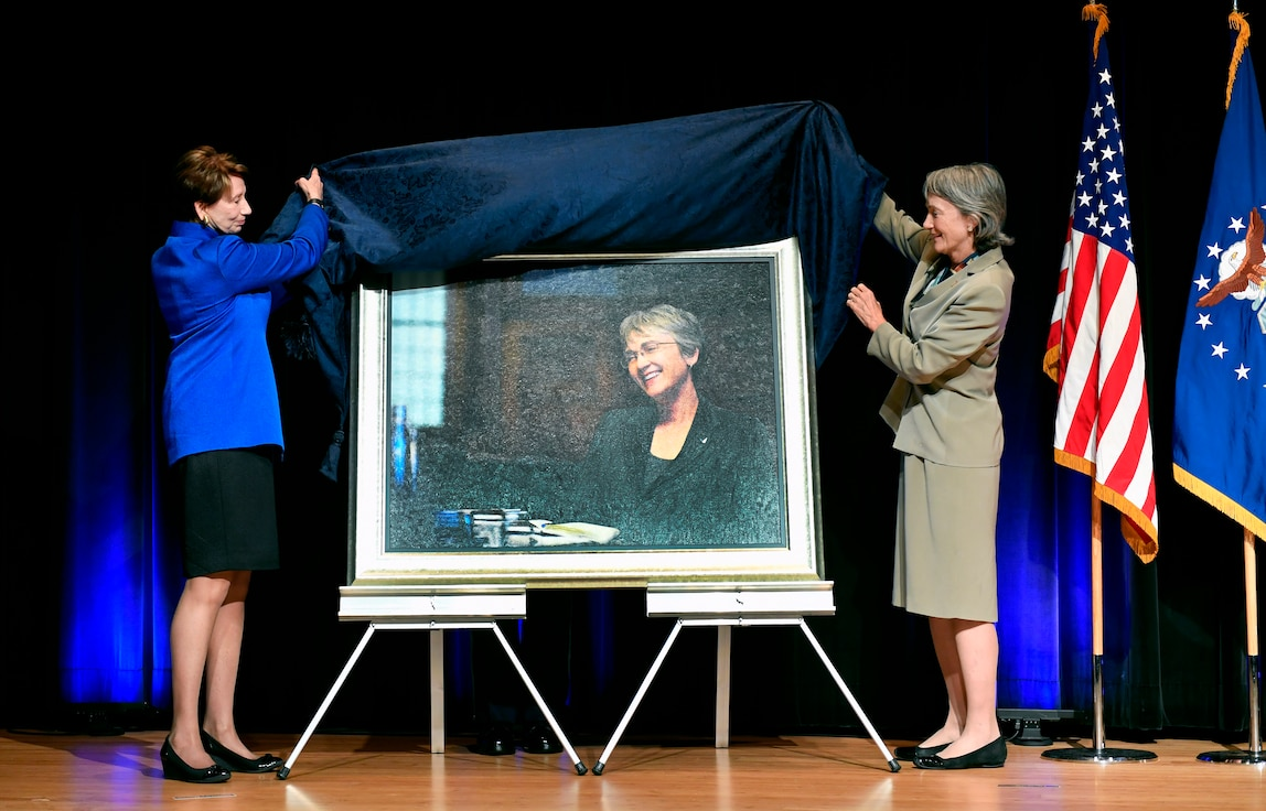 Secretary of the Air Force Barbara Barrett and former Secretary of the Air Force Heather Wilson unveil Wilson's official portrait during a ceremony at the Pentagon in Arlington, Va., July 28, 2020. (U.S. Air Force photo by Wayne Clark)