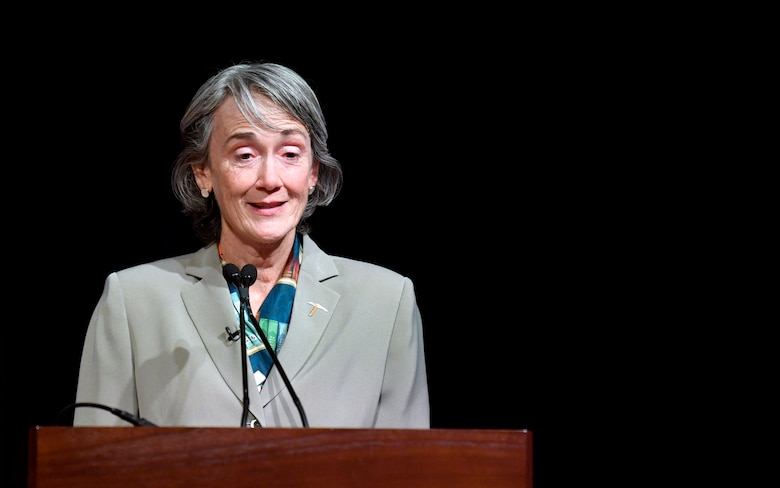 Former Secretary of the Air Force Heather Wilson speaks during the official portrait unveiling ceremony at the Pentagon in Arlington, Va., July 28, 2020. (U.S. Air Force photo by Wayne Clark)