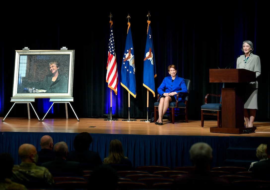 Former Secretary of the Air Force Dr. Heather Wilson speaks during the official portrait unveiling ceremony in the Pentagon, Arlington, Va., July 28, 2020. (U.S. Air Force photo by Wayne Clark)