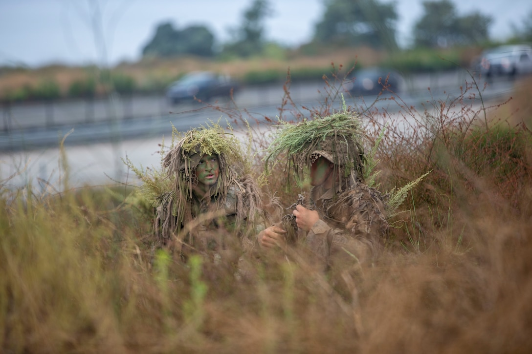 U.S. Marines work to conceal themselves during an exercise in the Romeo Training Area on Marine Corps Base Camp Pendleton, Calif., July 27.