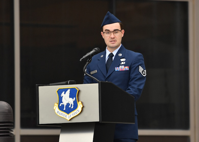 Staff Sgt. William Chorpenning, 4th Space Operations Squadron training manager and guest speaker for the event, addresses the audience during the Community College of the Air Force graduation ceremony July 27, 2020. Chorpenning spoke about what CCAF degrees symbolize and the importance of the achievement. (U.S. Air Force photo by Dennis Rogers)