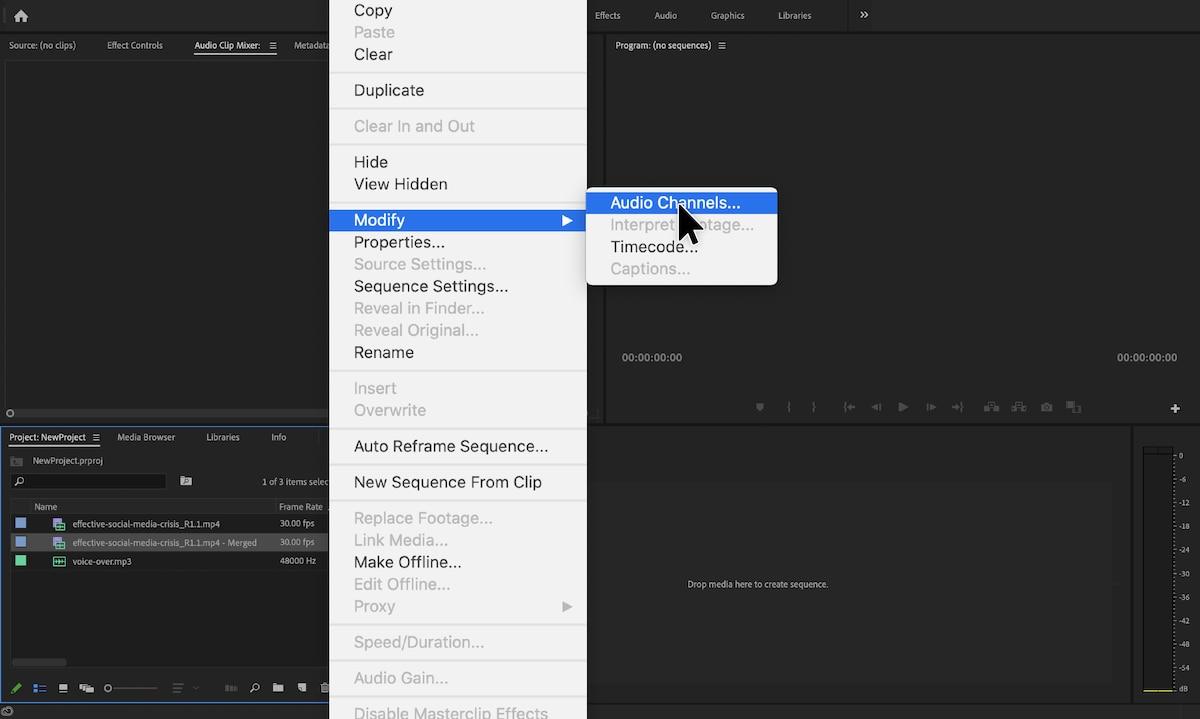 process of modifying audio channels in Adobe Premier pro