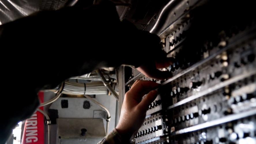 Senior Airman Kaid Hackler, 96th Aircraft Maintenance Unit aerospace propulsion journeyman, inspects a B-52H Stratofortress at Barksdale Air Force Base, La., July 23, 2020.