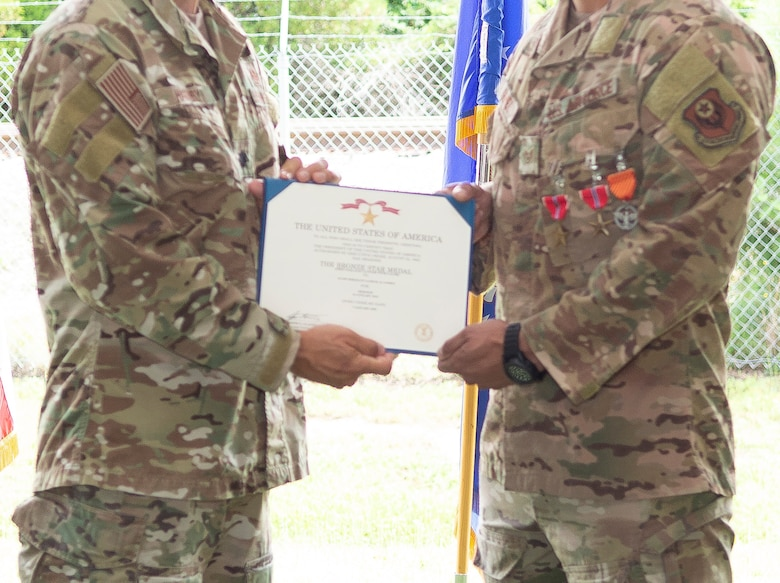 A Bronze Star Medal is presented to an Air Force Special Tactics operator from the 21st Special Tactics Squadron assigned to Pope Field, North Carolina.