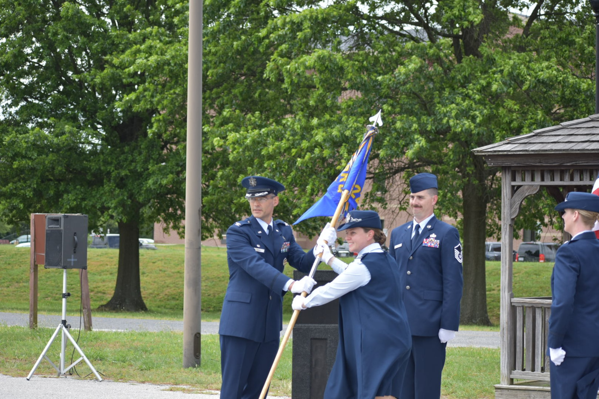 Lt. Col. Hallie Herrera takes command of the 22nd Intelligence Squadron from Col. Charles Freel, commander of the 691st Intelligence Surveillance and Reconnaissance Group in a ceremony at Fort George G. Meade, Md., June 16, 2020. (U.S. Air Force courtesy photo by Felix Herrera)